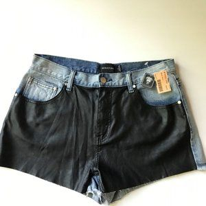 NWT MINKPINK denim leather shorts